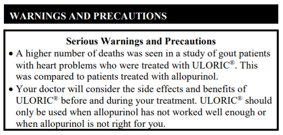FDA Black Box Warning for Uloric (febuxostat vs allopurinol)